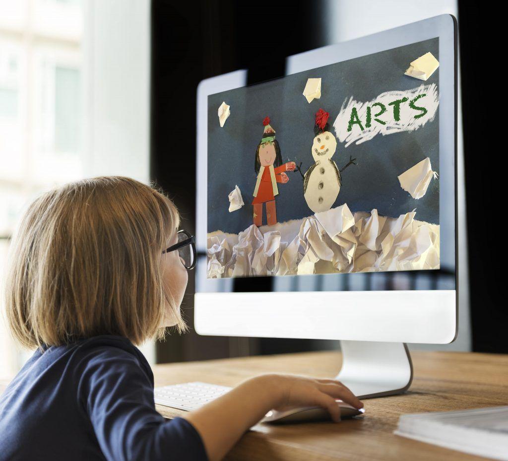 Girl enjoying digital art learning