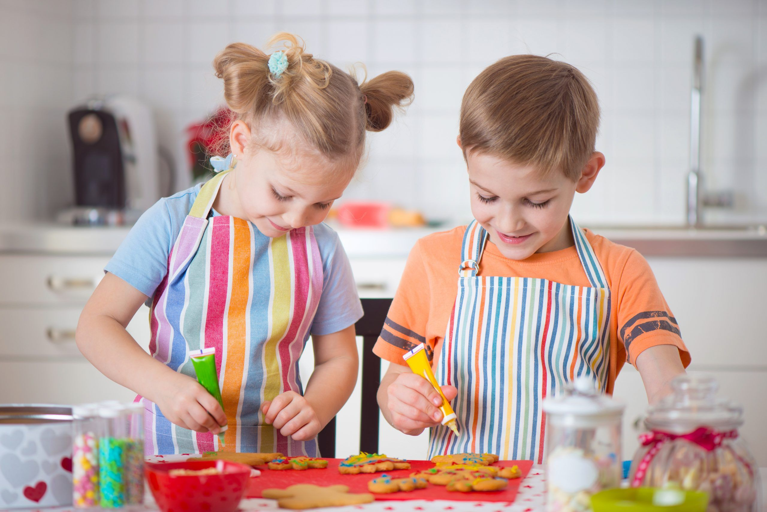 Cute,Little,Boy,And,Girl,Preparing,Christmas,Cookies,At,Home